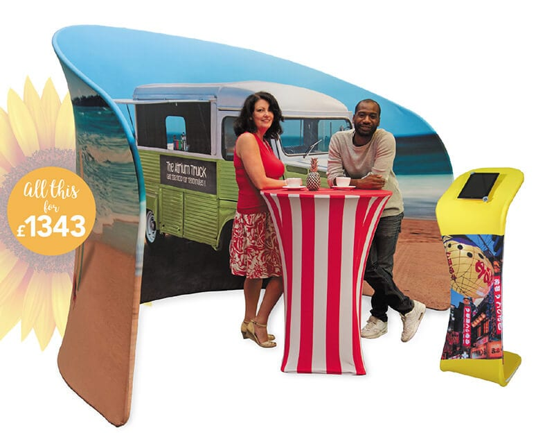 fabric display booth and table for event or show