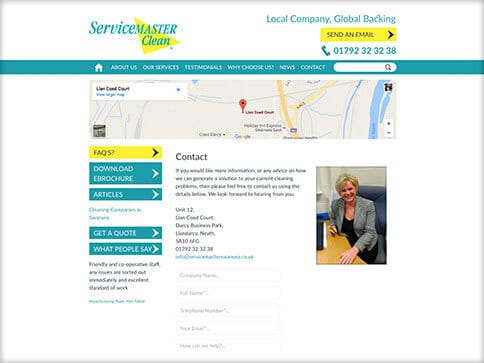 Servicemaster Swansea Web Design Contact
