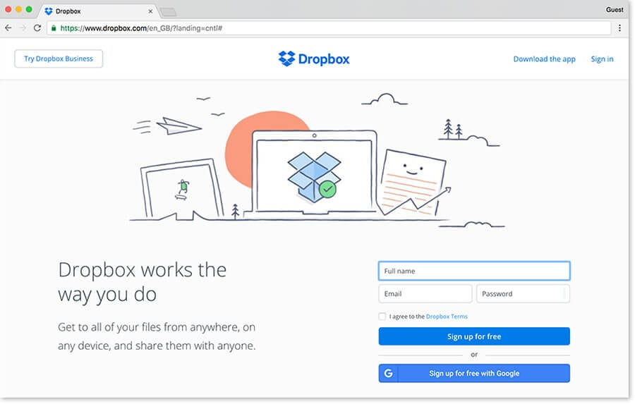 dropbox website homepage landing page example