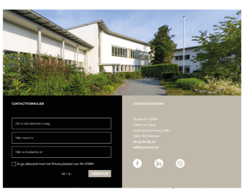 Website vormgeving voor In Vorm Driehuis