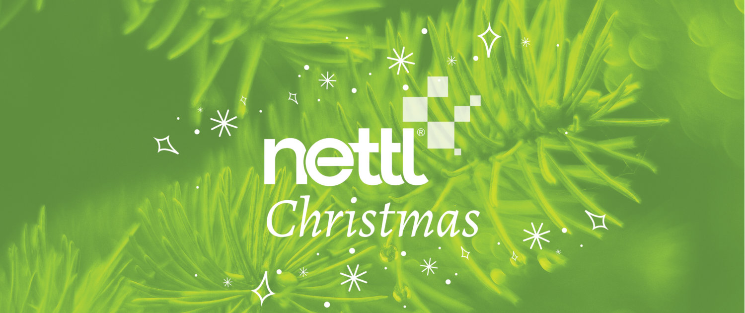 Nettl Christmas header, green overlay pine trees with christmas illustrations