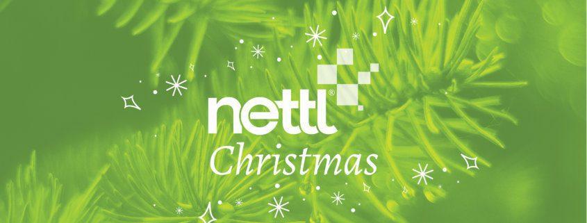 Nettl Christmas header, green overlay pine trees with christmas illustrations