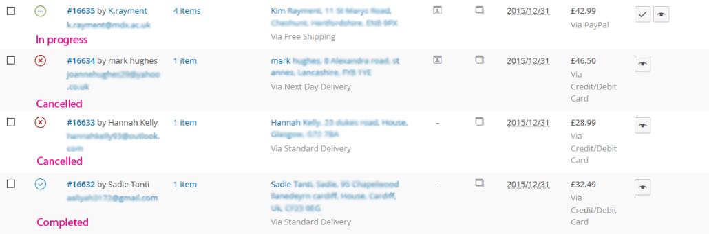 WooCommerce order status