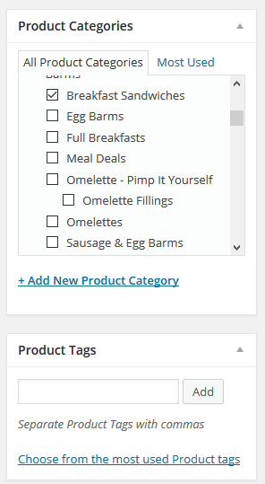 WooCommerce taxonomies