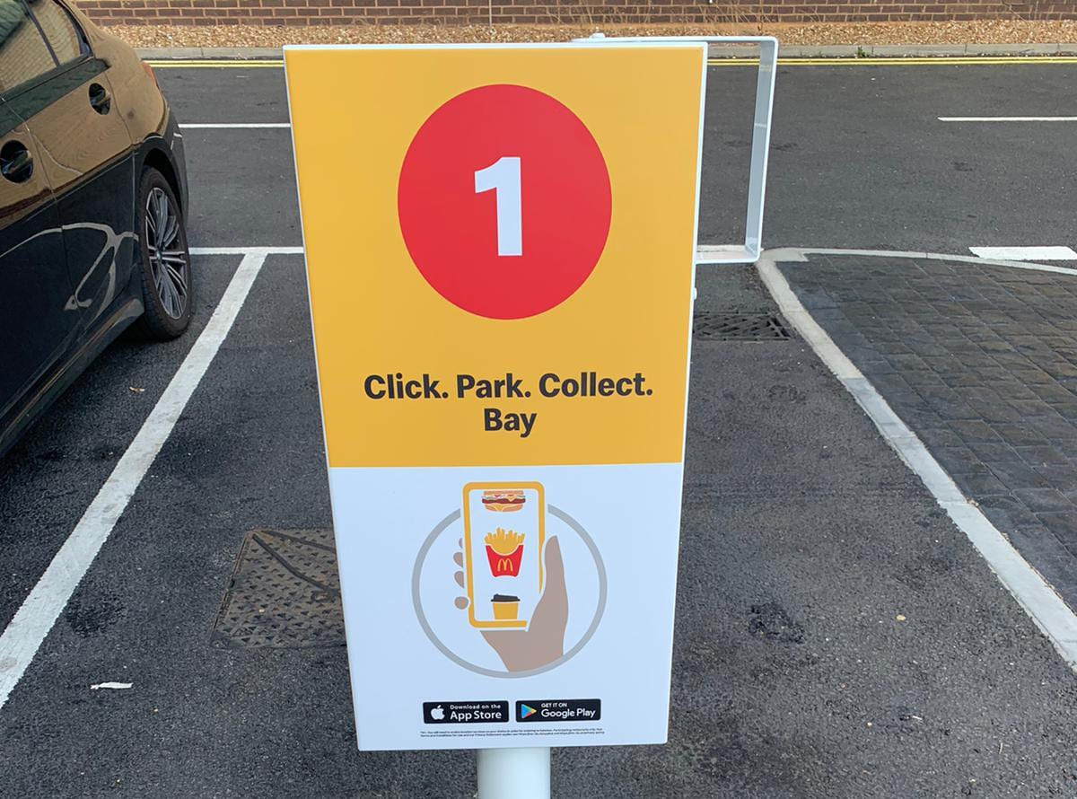 mcdonalds click, park and collect sign