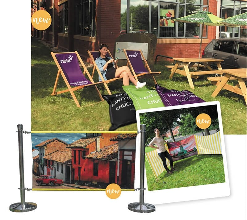 printed deck chairs cafe barriers windbreaks