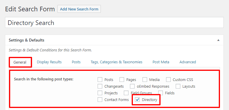 Nettl :Directory - Search Form General Settings