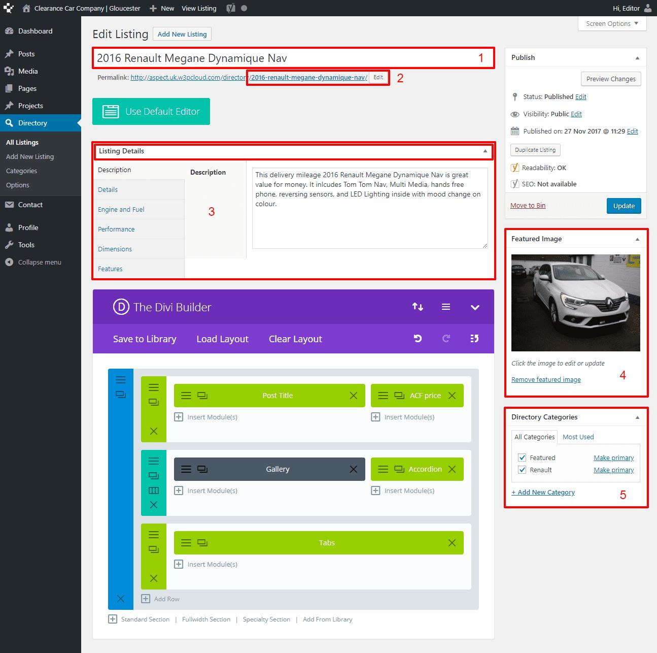 Nettl Directory - Modify a Listing