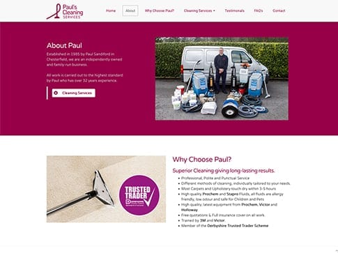 Paul's Cleaning Services Website by Nettl of Chesterfield
