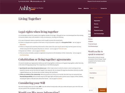 Ashby Family Law Website by Nettl of Chesterfield