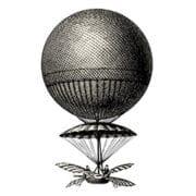 vintage hot air balloon landing metaphor