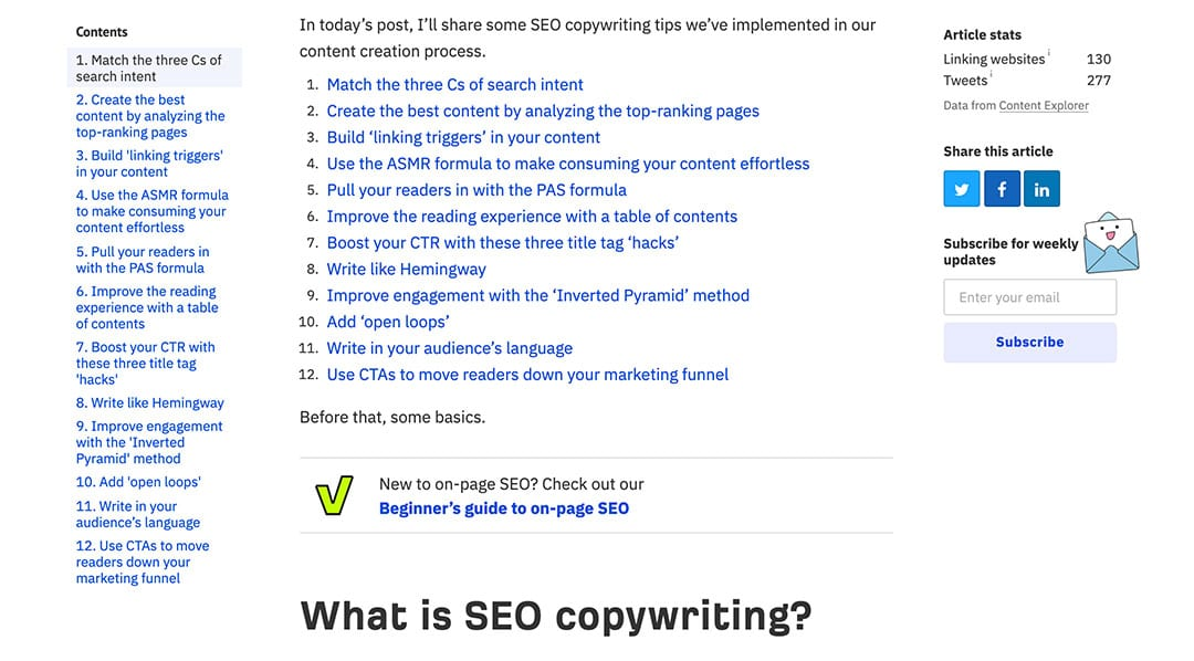 table of contents seo hot links