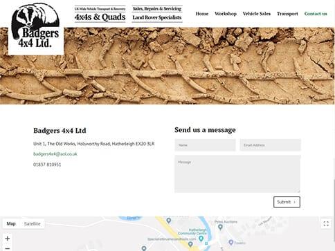 Badgers Contact Page Portfolio