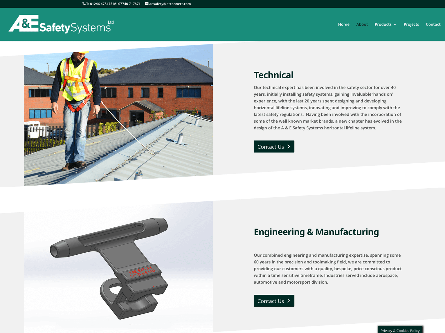 A & E Safety Systems website about us page