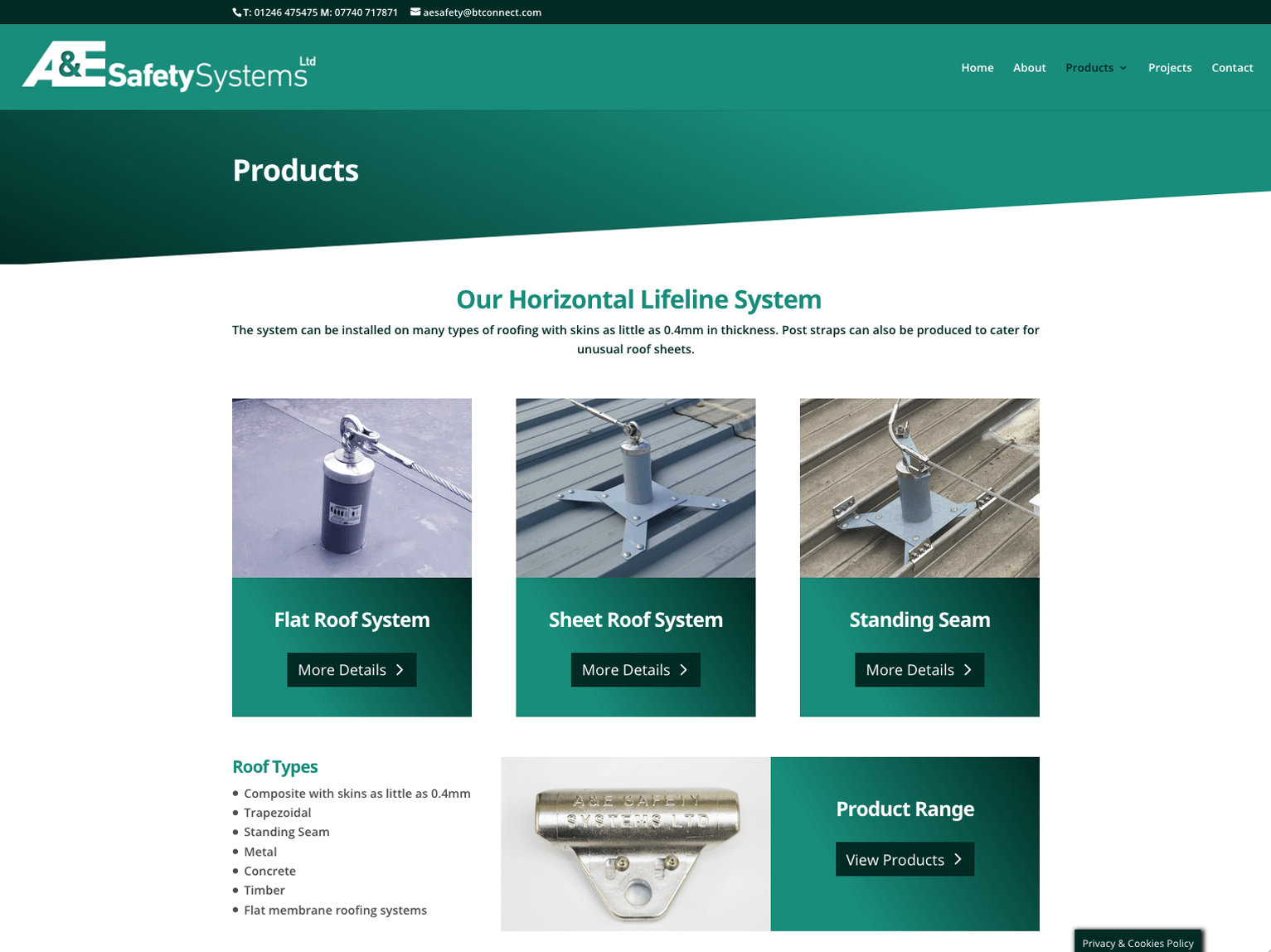 A & E Safety Systems website product page