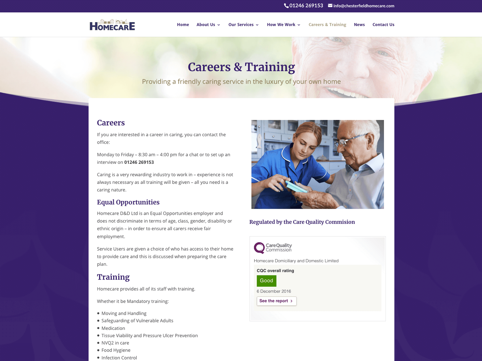 Homecare Chesterfield Careers & Training page