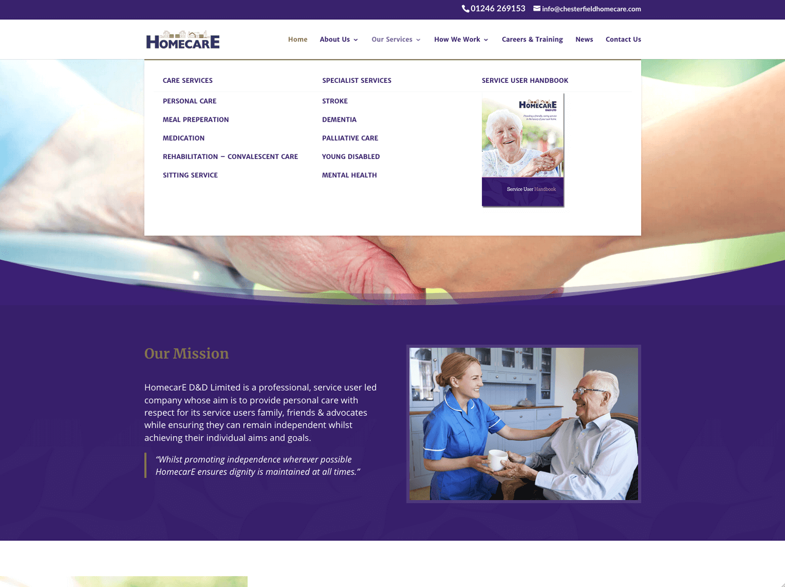 Homecare Chesterfield homepage megamenu
