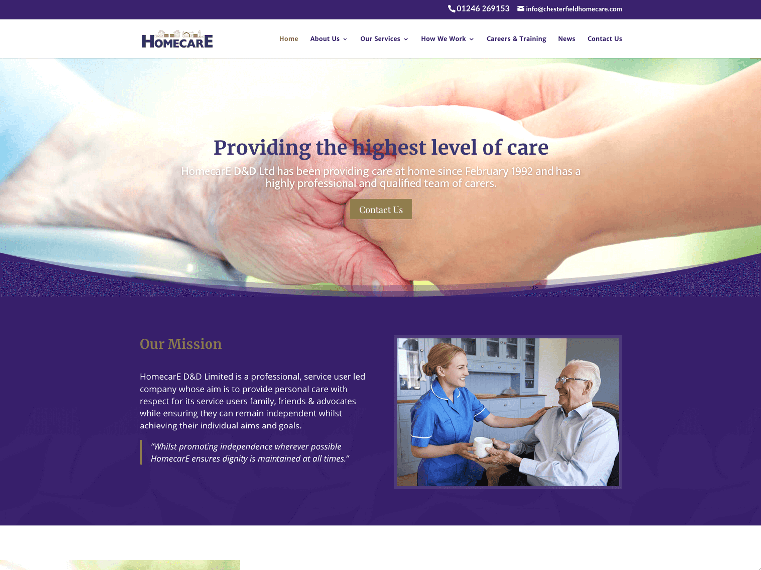 Homecare Chesterfield homepage