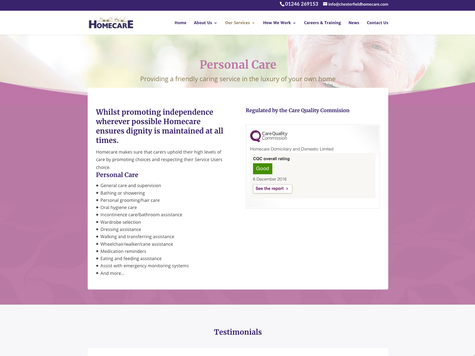 Homecare Chesterfield Personal Care page