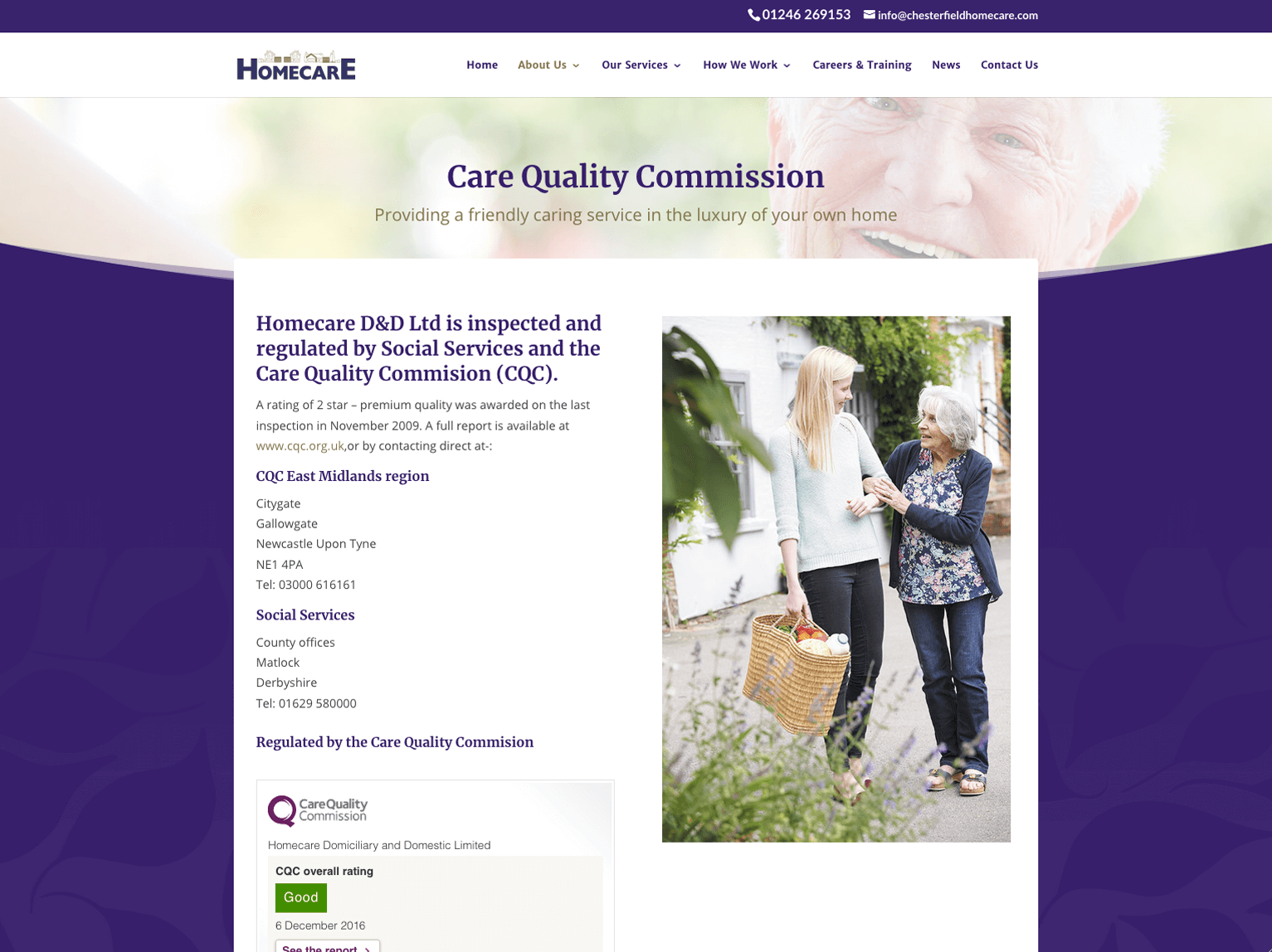 Homecare Chesterfield QCC page