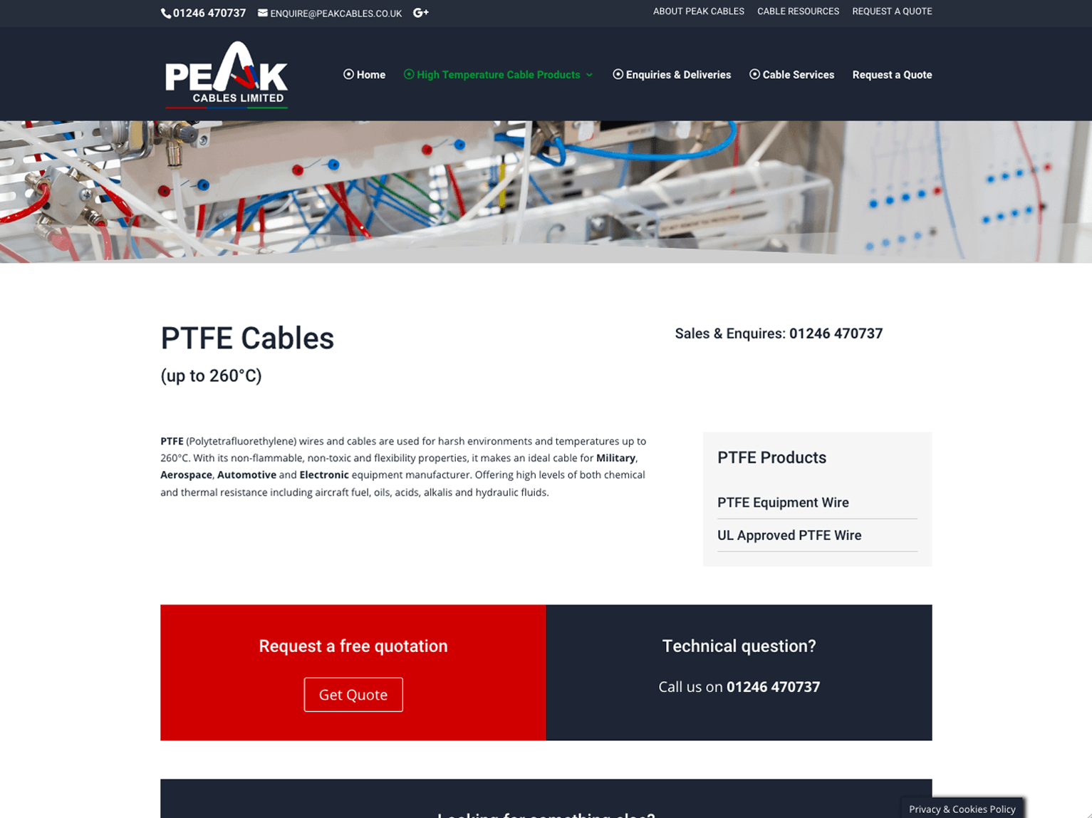 Peak Cables Chesterfield Product Page