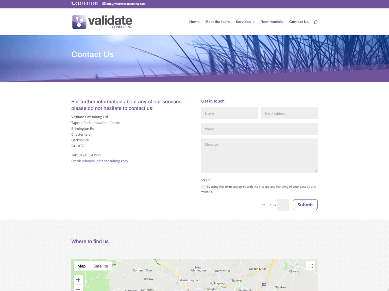 Validate Consulting Chesterfield contact page