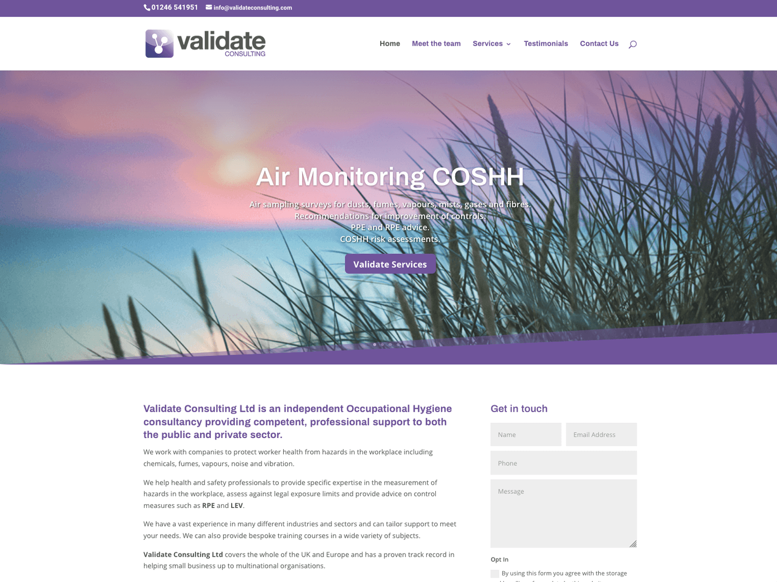 Validate Consulting Chesterfield home page