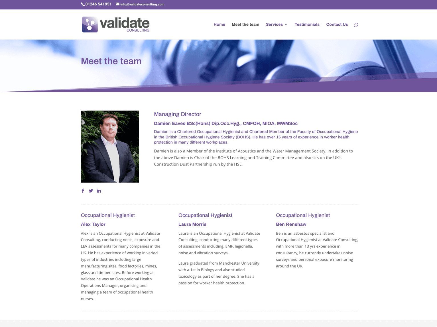 Validate Consulting Chesterfield team page