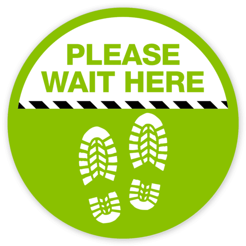 please wait here floor sticker