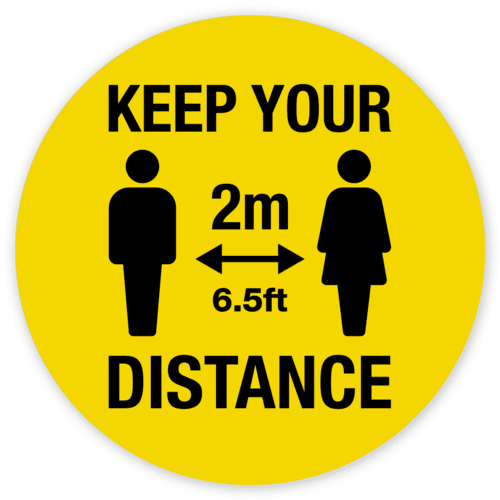 Keep your distance yellow sign