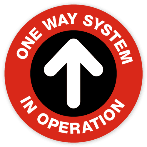 one way system social distancing marker sticker