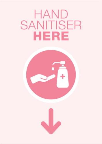 hand sanitiser here poster sign