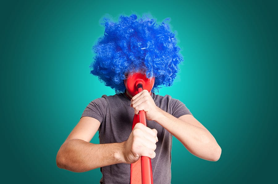 Person with blue wig