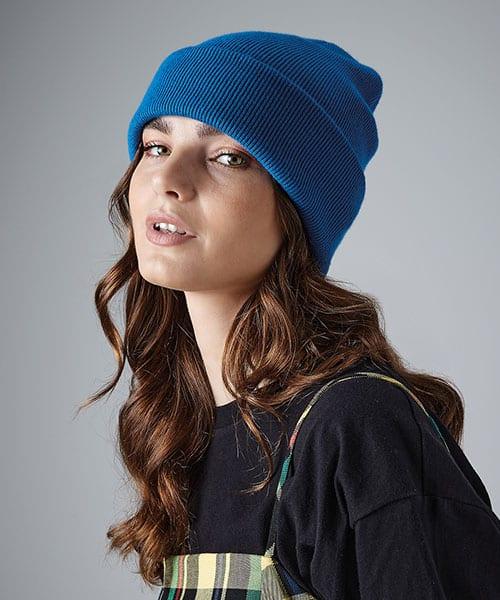 Woman wearing blue beanie