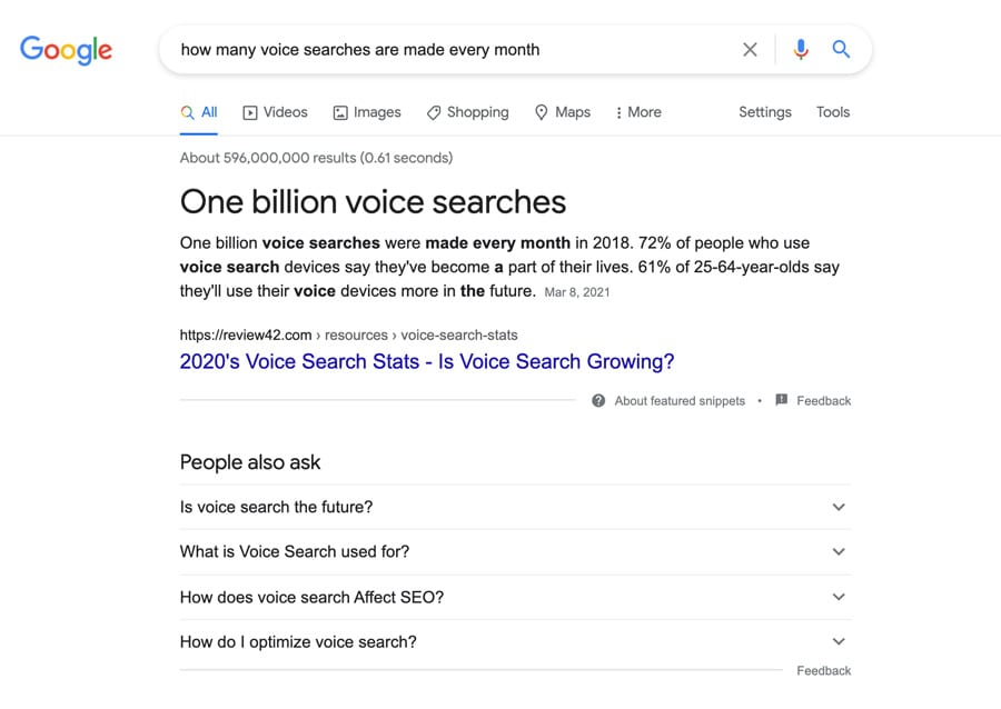 1 billion voice searches are made every month