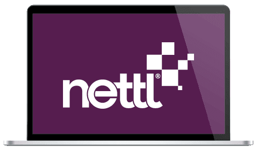 A laptop showing off the Nettl logo design.